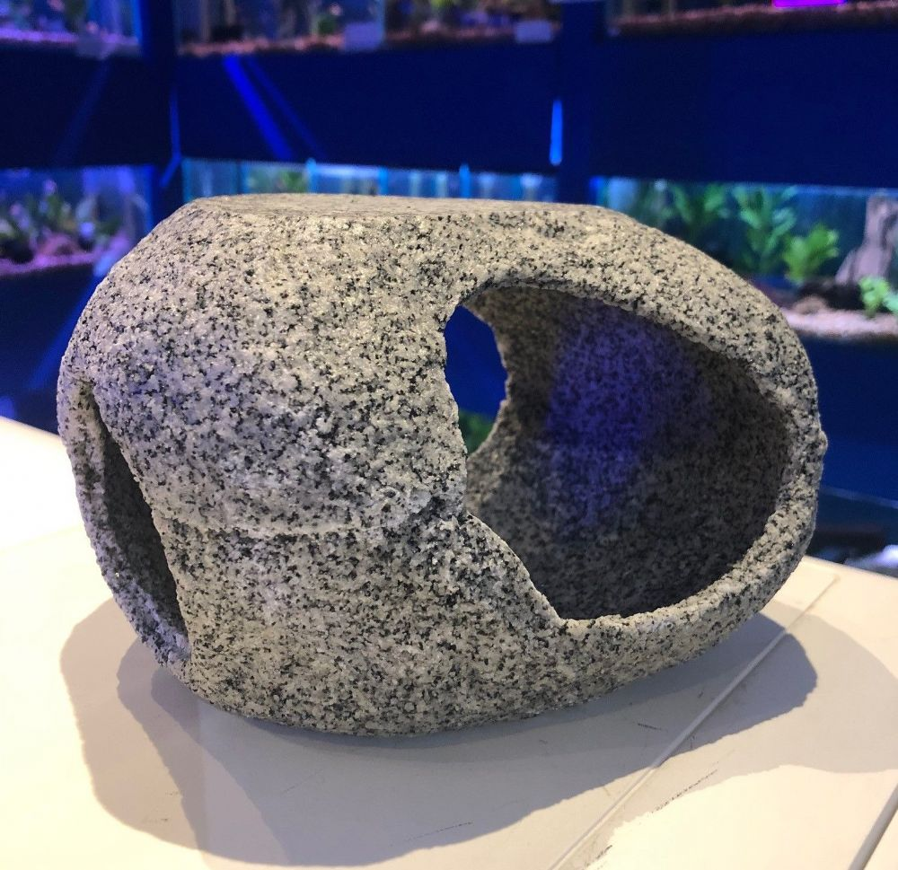 Round Grey Granite Effect Cave Hideaway Aquarium Ornaments Jumbo 20 cm